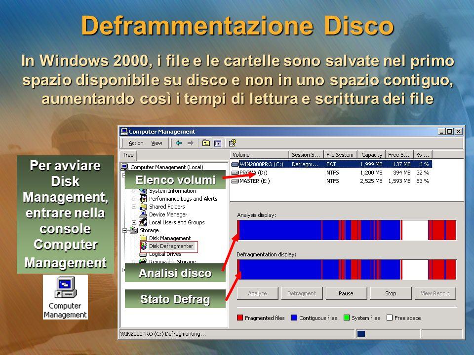 Deframmentazione Disco In Windows 2000, i file e le cartelle sono salvate nel primo spazio disponibile su disco e non in uno spazio contiguo, aumentan