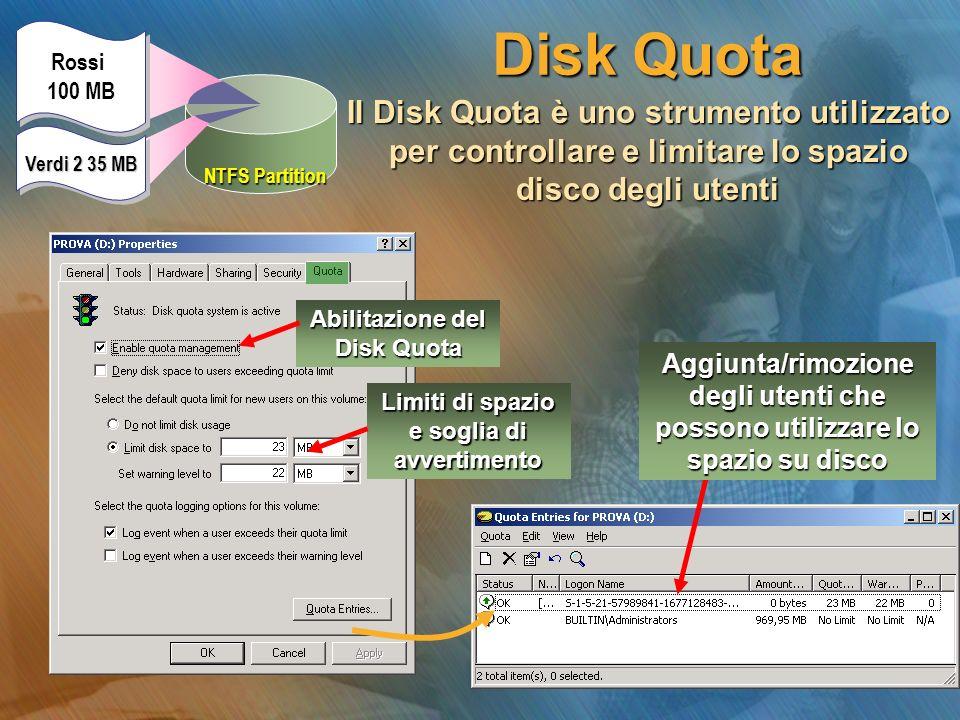 Abilitazione del Disk Quota Disk Quota Il Disk Quota è uno strumento utilizzato per controllare e limitare lo spazio disco degli utenti Limiti di spaz