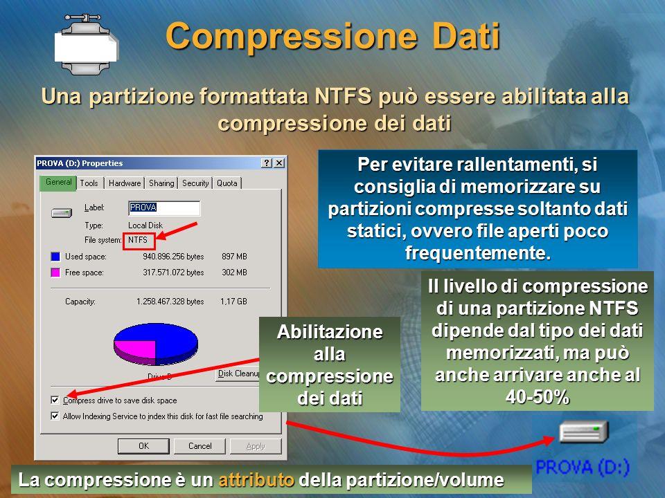 Compressione Dati Una partizione formattata NTFS può essere abilitata alla compressione dei dati Abilitazione alla compressione dei dati Il livello di