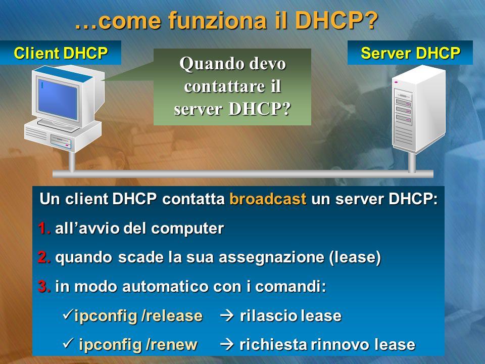 …come funziona il DHCP? Quando devo contattare il server DHCP? Server DHCP Client DHCP Un client DHCP contatta broadcast un server DHCP: 1. allavvio d