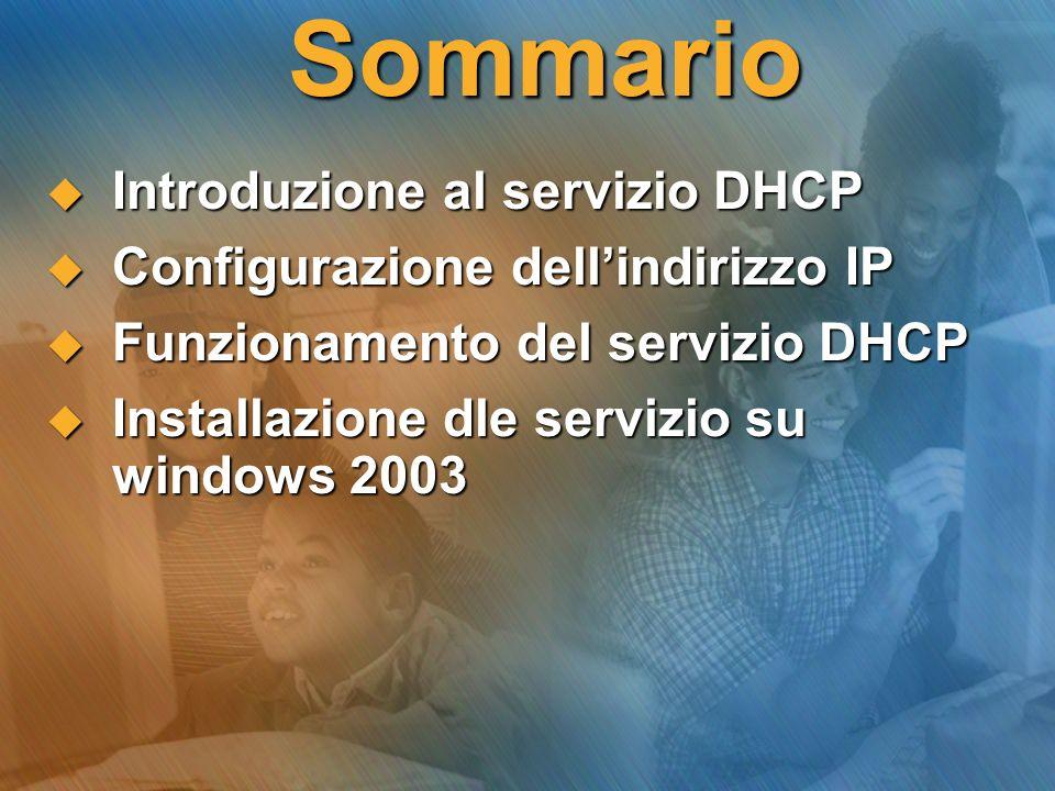 Sommario Introduzione al servizio DHCP Introduzione al servizio DHCP Configurazione dellindirizzo IP Configurazione dellindirizzo IP Funzionamento del