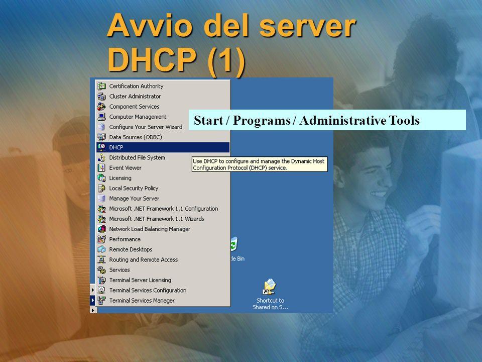 Start / Programs / Administrative Tools Avvio del server DHCP (1)
