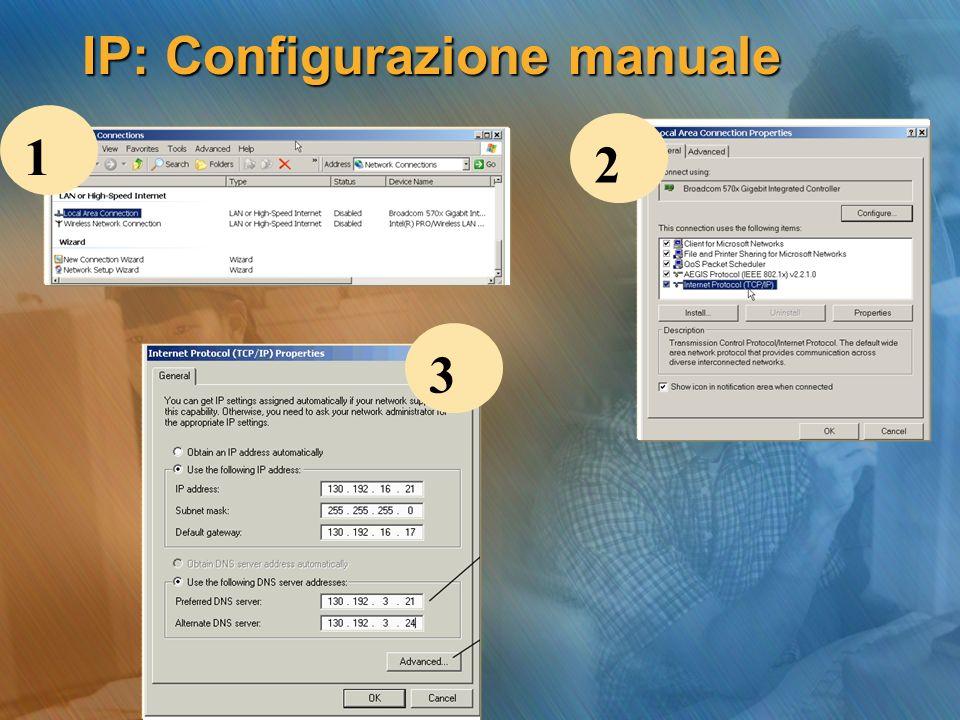 IP: Configurazione manuale 1 2 3