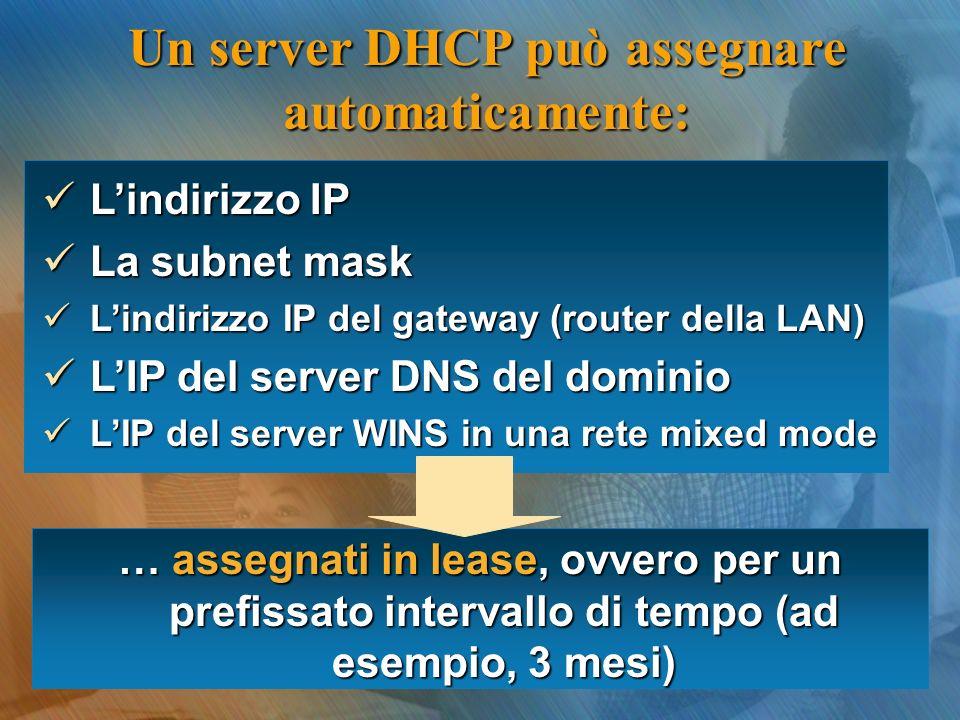 Lindirizzo IP Lindirizzo IP La subnet mask La subnet mask Lindirizzo IP del gateway (router della LAN) Lindirizzo IP del gateway (router della LAN) LIP del server DNS del dominio LIP del server DNS del dominio LIP del server WINS in una rete mixed mode LIP del server WINS in una rete mixed mode … assegnati in lease, ovvero per un prefissato intervallo di tempo (ad esempio, 3 mesi) Un server DHCP può assegnare automaticamente: