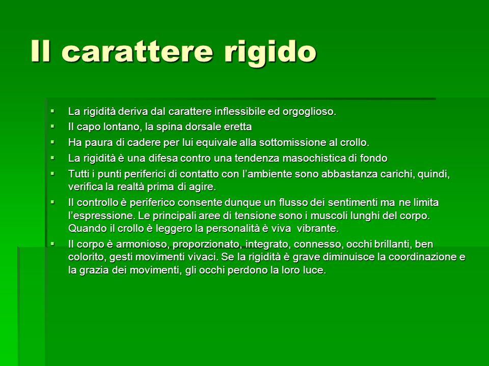 Il carattere rigido La rigidità deriva dal carattere inflessibile ed orgoglioso. La rigidità deriva dal carattere inflessibile ed orgoglioso. Il capo