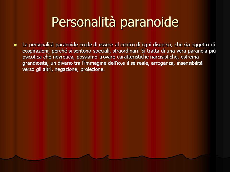 Lorganizzazione psicopatica della personalità… Abbiamo la mancanza del concetto di sé con il predominio dei meccanismi di difesa, scissione, perdita dellesame di realtà.