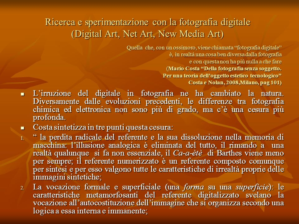 Ricerca e sperimentazione con la fotografia digitale (Digital Art, Net Art, New Media Art) Quella che, con un ossimoro, viene chiamata fotografia digi