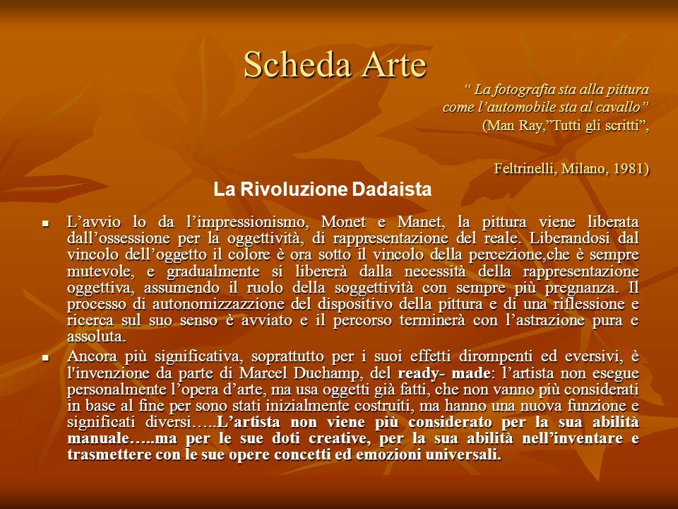 Scheda Arte Lavvio lo da limpressionismo, Monet e Manet, la pittura viene liberata dallossessione per la oggettività, di rappresentazione del reale. L