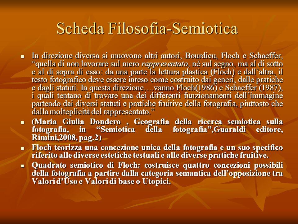 Scheda Filosofia-Semiotica In direzione diversa si muovono altri autori, Bourdieu, Floch e Schaeffer, quella di non lavorare sul mero rappresentato, n
