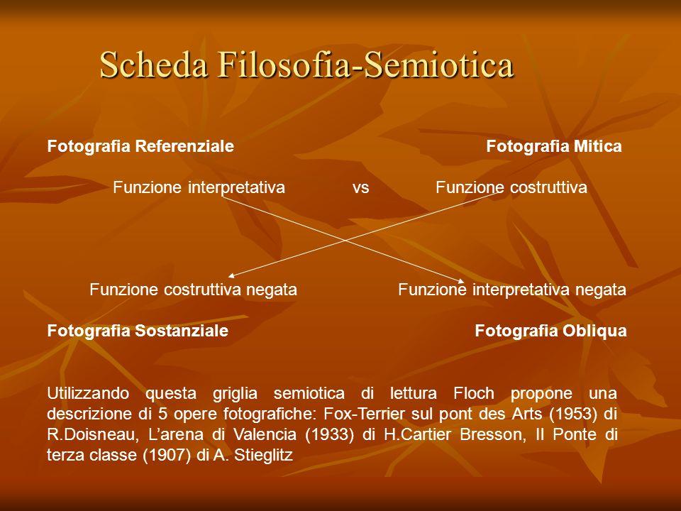 Scheda Filosofia-Semiotica Fotografia Referenziale Fotografia Mitica Funzione interpretativa vs Funzione costruttiva Funzione costruttiva negata Funzi