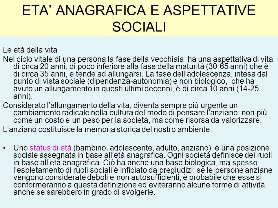 ETA ANAGRAFICA E ASPETTATIVE SOCIALI Le età della vita Nel ciclo vitale di una persona la fase della vecchiaia ha una aspettativa di vita di circa 20