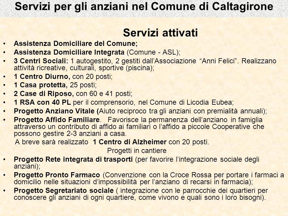Servizi per gli anziani nel Comune di Caltagirone Servizi attivati Assistenza Domiciliare del Comune; Assistenza Domiciliare Integrata (Comune - ASL);