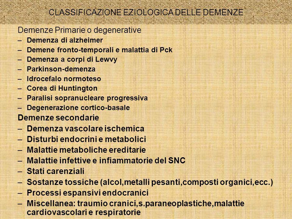CLASSIFICAZIONE EZIOLOGICA DELLE DEMENZE Demenze Primarie o degenerative –Demenza di alzheimer –Demene fronto-temporali e malattia di Pck –Demenza a c