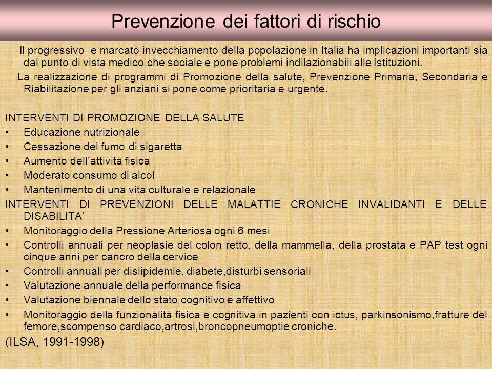 Prevenzione dei fattori di rischio Il progressivo e marcato invecchiamento della popolazione in Italia ha implicazioni importanti sia dal punto di vis