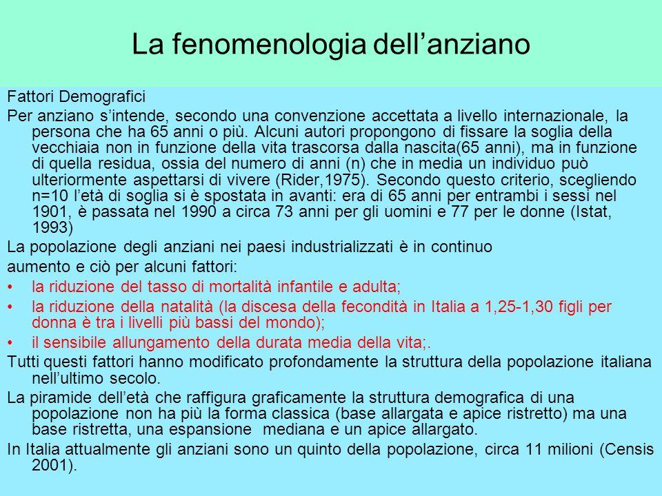 La fenomenologia dellanziano Fattori Demografici Per anziano sintende, secondo una convenzione accettata a livello internazionale, la persona che ha 6