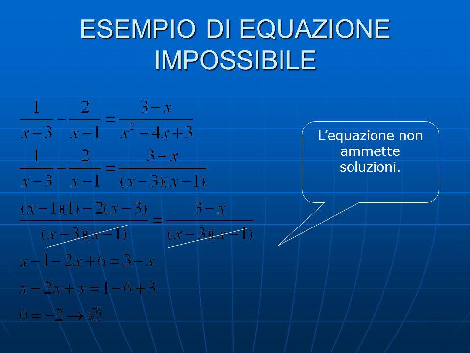 CASI PARTICOLARI UnEquazione può essere Impossibile Lequazione afferma un dato falso. Si ottiene Zero uguale a un numero. Indeterminata (Identità) Leq