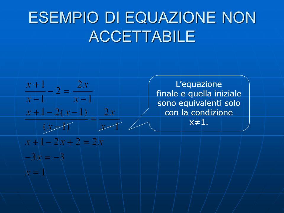 ESEMPIO DI EQUAZIONE INDETERMINATA (IDENTITA) Lequazione ammette un numero infinito di soluzioni poichè è verificata per tutti gli infiniti valori che