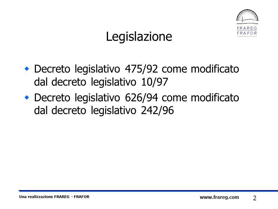 Una realizzazione FRAREG - FRAFOR 2 www.frareg.com Legislazione Decreto legislativo 475/92 come modificato dal decreto legislativo 10/97 Decreto legis