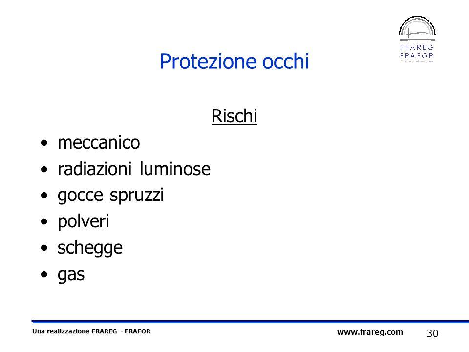 Una realizzazione FRAREG - FRAFOR 30 www.frareg.com Protezione occhi Rischi meccanico radiazioni luminose gocce spruzzi polveri schegge gas
