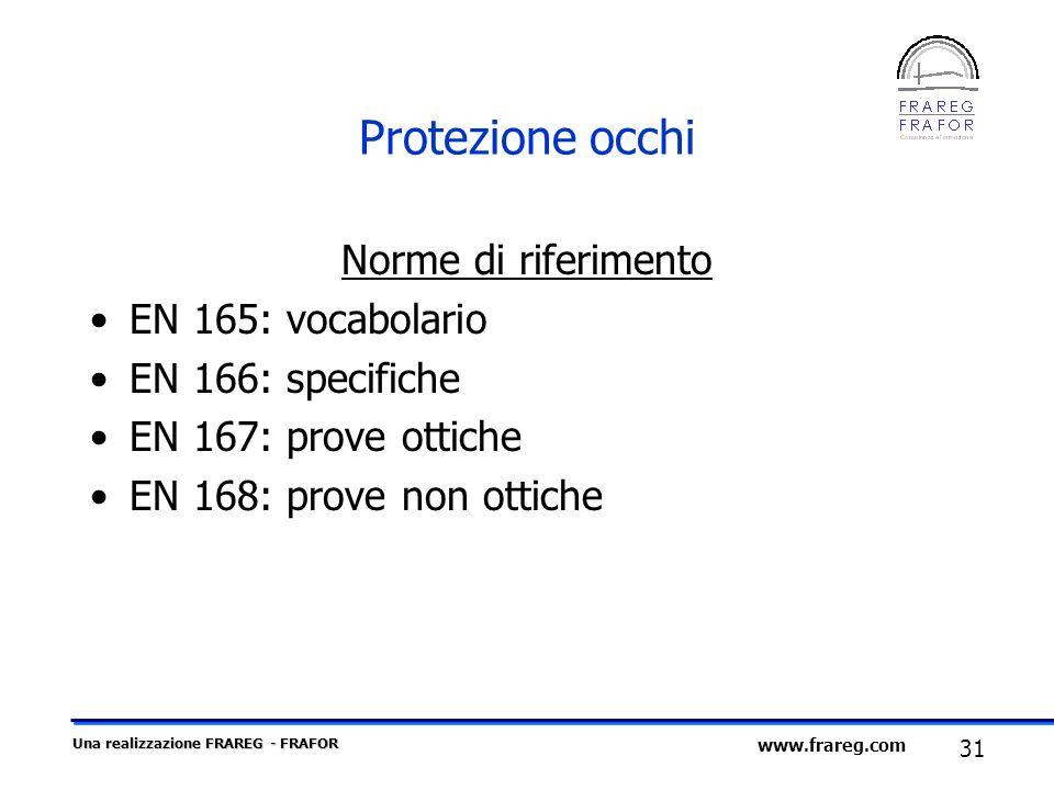 Una realizzazione FRAREG - FRAFOR 31 www.frareg.com Protezione occhi Norme di riferimento EN 165: vocabolario EN 166: specifiche EN 167: prove ottiche