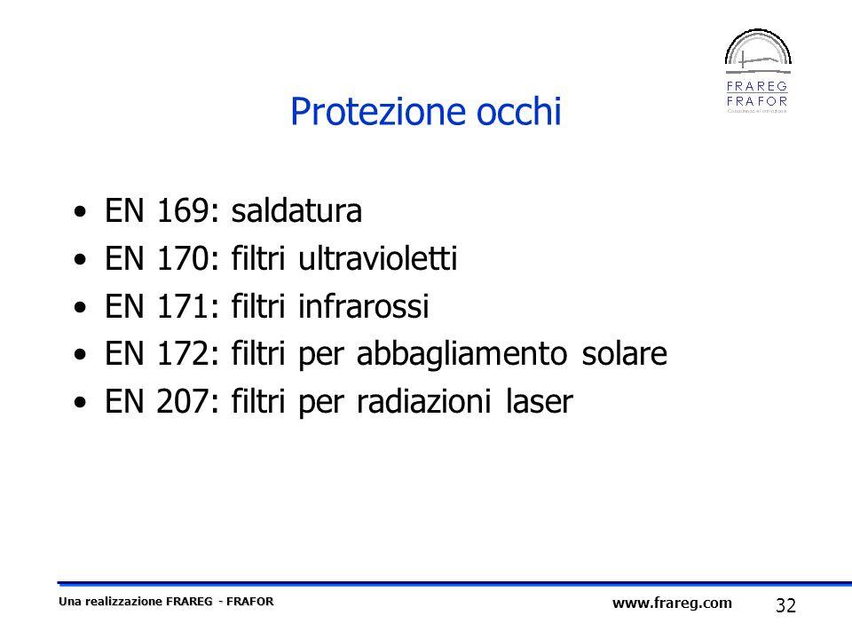 Una realizzazione FRAREG - FRAFOR 32 www.frareg.com Protezione occhi EN 169: saldatura EN 170: filtri ultravioletti EN 171: filtri infrarossi EN 172: