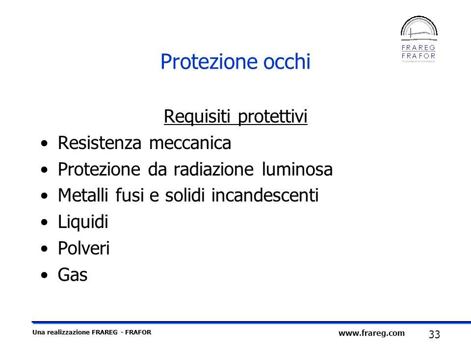 Una realizzazione FRAREG - FRAFOR 33 www.frareg.com Protezione occhi Requisiti protettivi Resistenza meccanica Protezione da radiazione luminosa Metal
