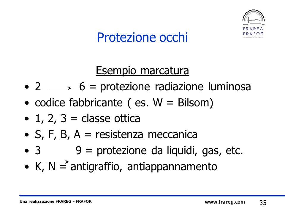 Una realizzazione FRAREG - FRAFOR 35 www.frareg.com Protezione occhi Esempio marcatura 2 6 = protezione radiazione luminosa codice fabbricante ( es. W
