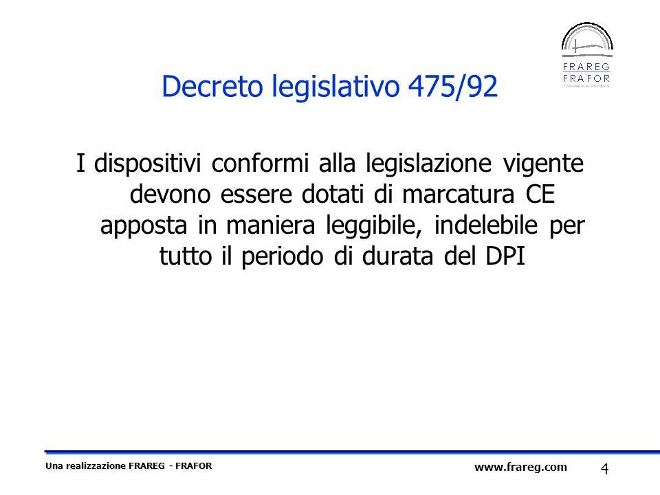 Una realizzazione FRAREG - FRAFOR 4 www.frareg.com Decreto legislativo 475/92 I dispositivi conformi alla legislazione vigente devono essere dotati di