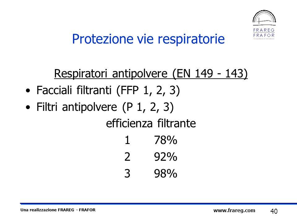 Una realizzazione FRAREG - FRAFOR 40 www.frareg.com Protezione vie respiratorie Respiratori antipolvere (EN 149 - 143) Facciali filtranti (FFP 1, 2, 3