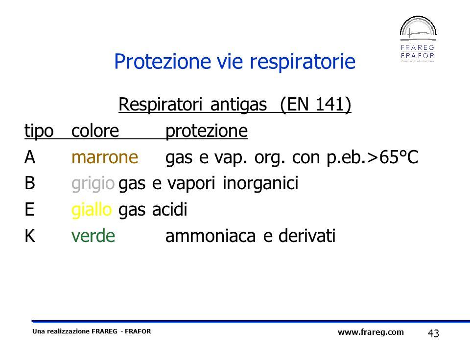 Una realizzazione FRAREG - FRAFOR 43 www.frareg.com Protezione vie respiratorie Respiratori antigas (EN 141) tipocoloreprotezione Amarronegas e vap. o