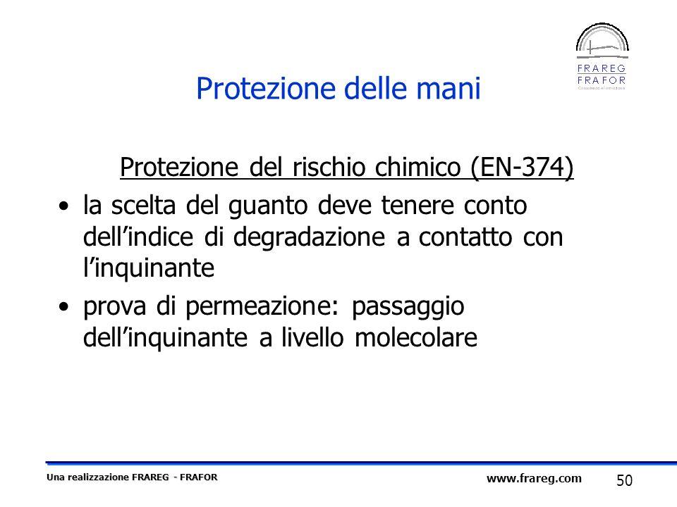 Una realizzazione FRAREG - FRAFOR 50 www.frareg.com Protezione delle mani Protezione del rischio chimico (EN-374) la scelta del guanto deve tenere con