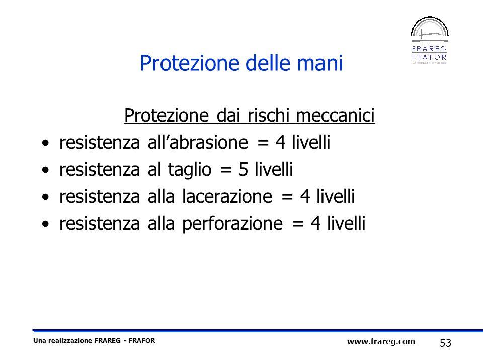 Una realizzazione FRAREG - FRAFOR 53 www.frareg.com Protezione delle mani Protezione dai rischi meccanici resistenza allabrasione = 4 livelli resisten