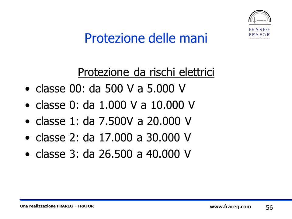 Una realizzazione FRAREG - FRAFOR 56 www.frareg.com Protezione delle mani Protezione da rischi elettrici classe 00: da 500 V a 5.000 V classe 0: da 1.