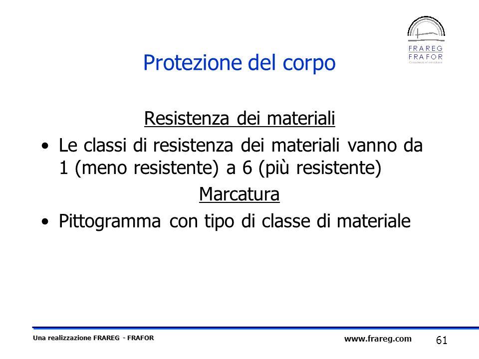 Una realizzazione FRAREG - FRAFOR 61 www.frareg.com Protezione del corpo Resistenza dei materiali Le classi di resistenza dei materiali vanno da 1 (me