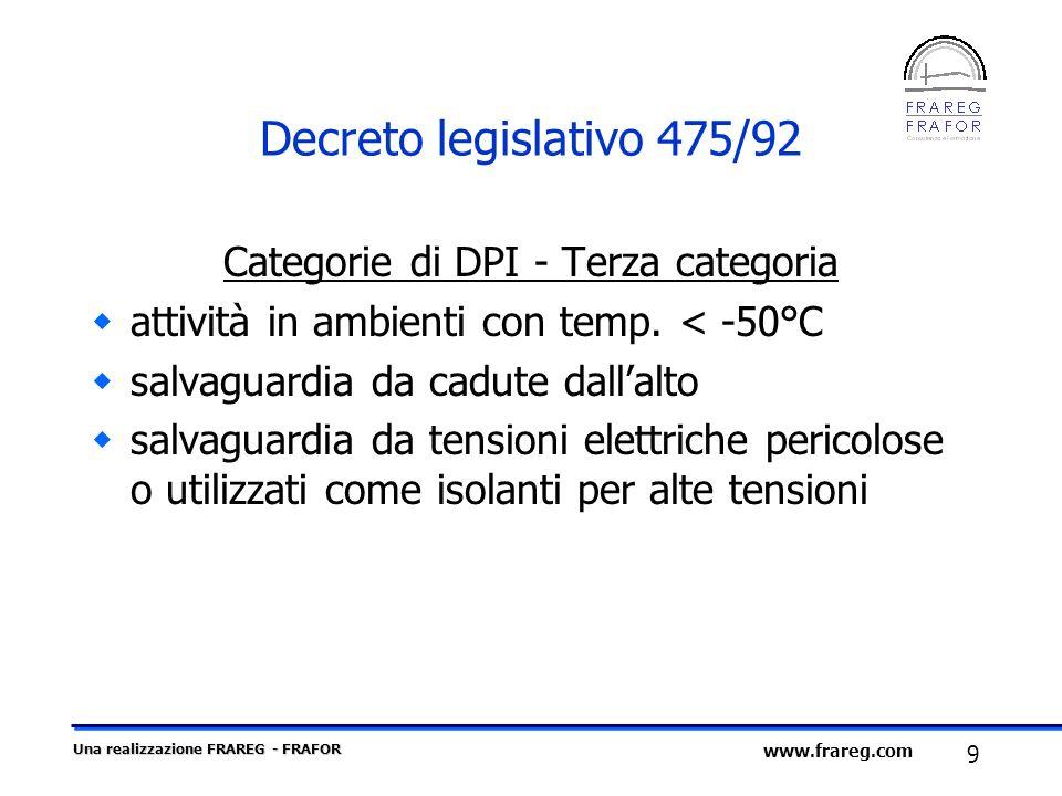 Una realizzazione FRAREG - FRAFOR 9 www.frareg.com Decreto legislativo 475/92 Categorie di DPI - Terza categoria attività in ambienti con temp. < -50°