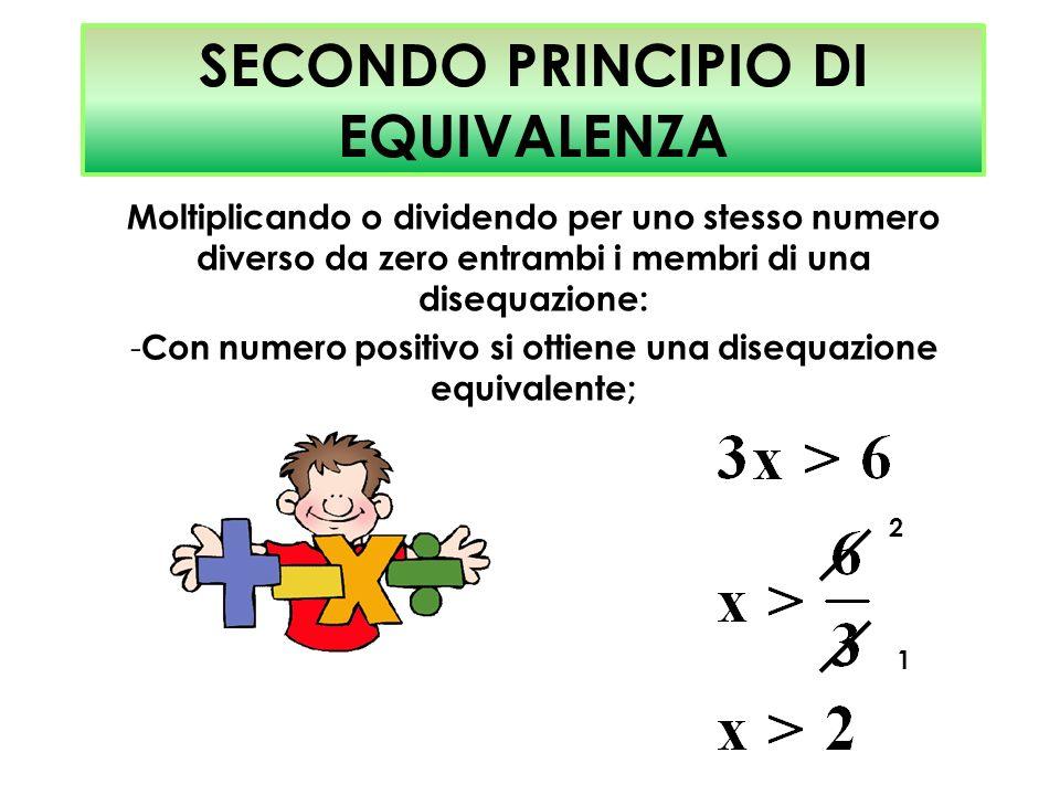 SECONDO PRINCIPIO DI EQUIVALENZA Moltiplicando o dividendo per uno stesso numero diverso da zero entrambi i membri di una disequazione: - Con numero p