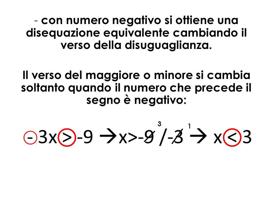 - con numero negativo si ottiene una disequazione equivalente cambiando il verso della disuguaglianza. Il verso del maggiore o minore si cambia soltan