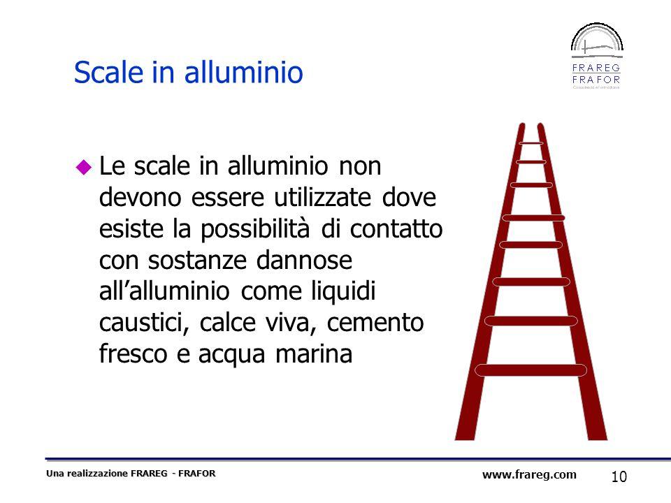 Una realizzazione FRAREG - FRAFOR 10 www.frareg.com Scale in alluminio Le scale in alluminio non devono essere utilizzate dove esiste la possibilità d
