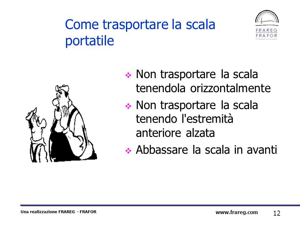 Una realizzazione FRAREG - FRAFOR 12 www.frareg.com Come trasportare la scala portatile Non trasportare la scala tenendola orizzontalmente Non traspor
