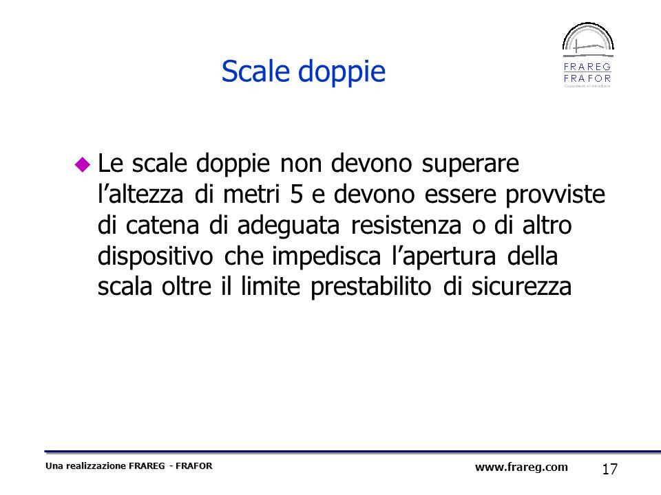 Una realizzazione FRAREG - FRAFOR 17 www.frareg.com Scale doppie Le scale doppie non devono superare laltezza di metri 5 e devono essere provviste di