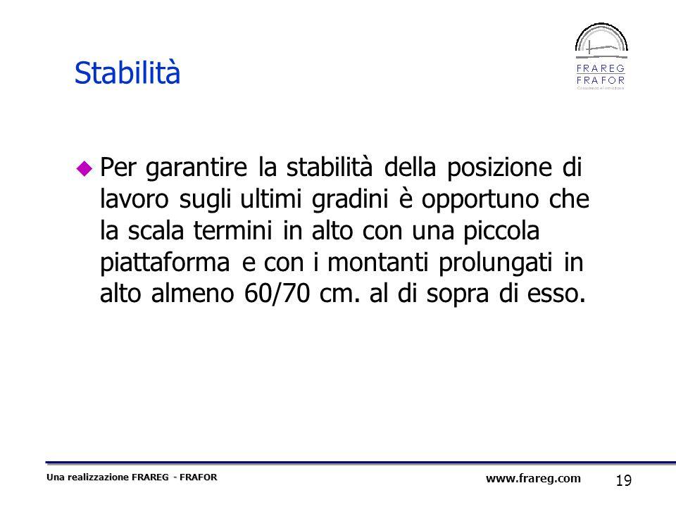 Una realizzazione FRAREG - FRAFOR 19 www.frareg.com Stabilità Per garantire la stabilità della posizione di lavoro sugli ultimi gradini è opportuno ch