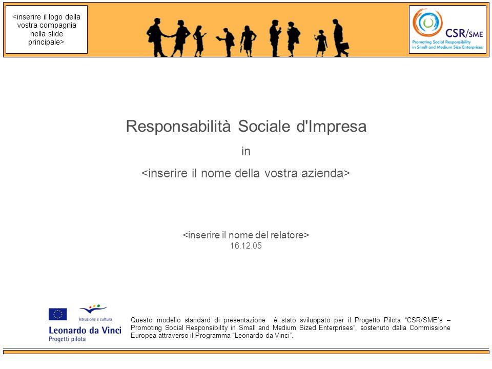 16.12.05 Responsabilità Sociale d Impresa in Questo modello standard di presentazione è stato sviluppato per il Progetto Pilota CSR/SMEs – Promoting Social Responsibility in Small and Medium Sized Enterprises, sostenuto dalla Commissione Europea attraverso il Programma Leonardo da Vinci.