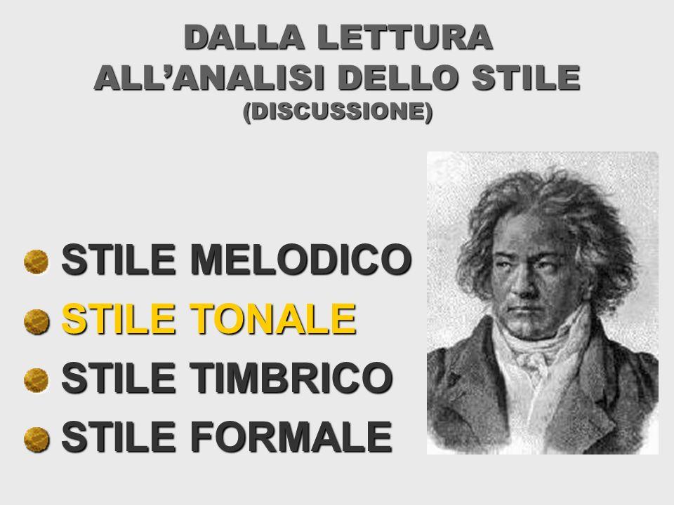 DALLA LETTURA ALLANALISI DELLO STILE (DISCUSSIONE) STILE MELODICO STILE MELODICO STILE TONALE STILE TONALE STILE TIMBRICO STILE TIMBRICO STILE FORMALE