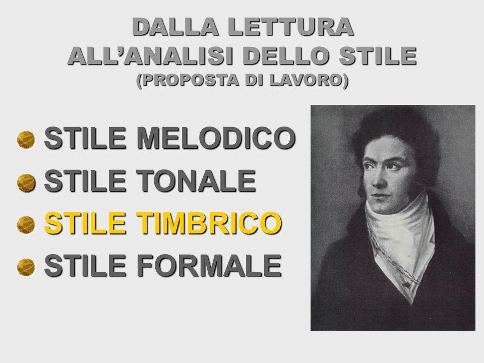 DALLA LETTURA ALLANALISI DELLO STILE (PROPOSTA DI LAVORO) STILE MELODICO STILE MELODICO STILE TONALE STILE TONALE STILE TIMBRICO STILE TIMBRICO STILE