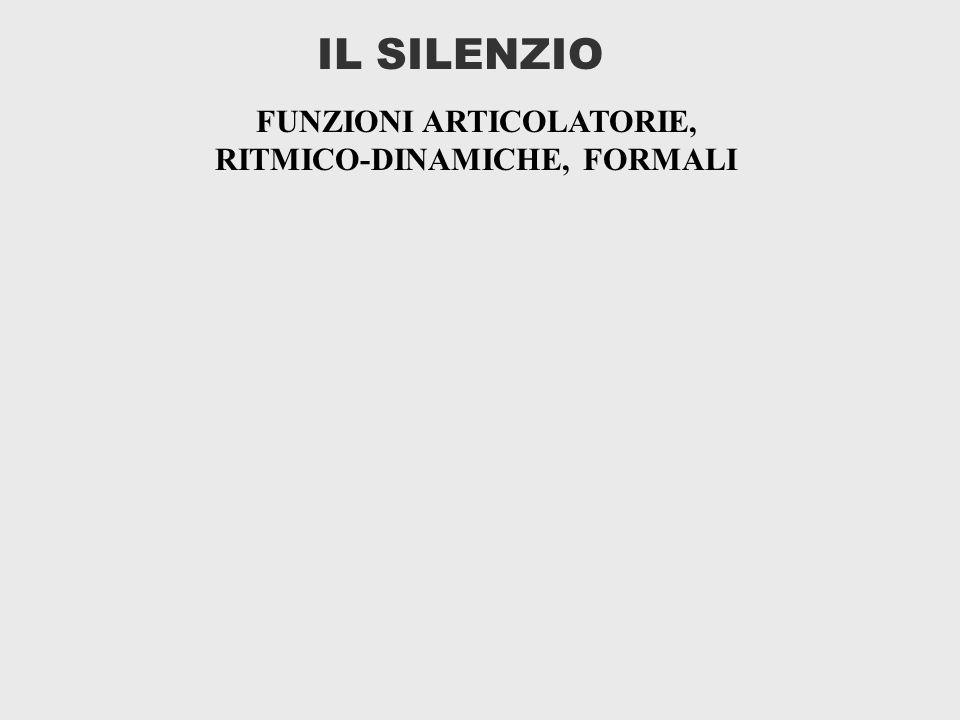 IL SILENZIO FUNZIONI ARTICOLATORIE, RITMICO-DINAMICHE, FORMALI
