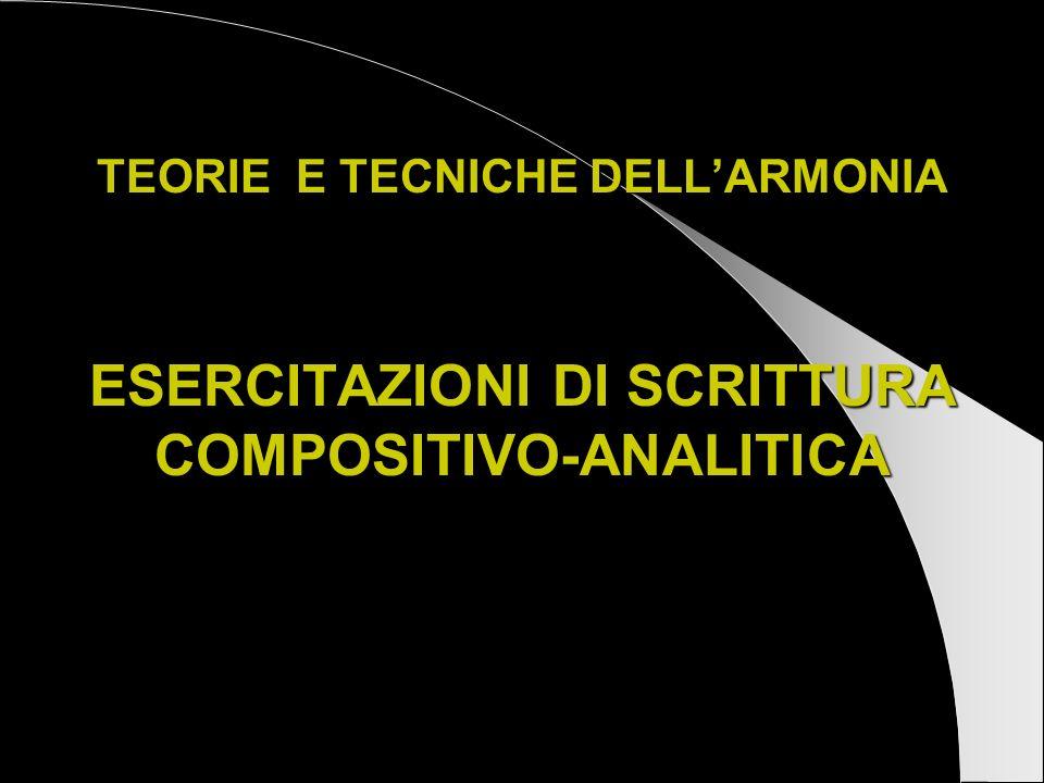 TEORIE E TECNICHE DELLARMONIA ESERCITAZIONI DI SCRITTURA COMPOSITIVO-ANALITICA