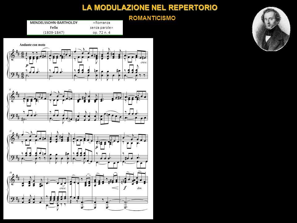 LA MODULAZIONE NEL REPERTORIO ROMANTICISMO MENDELSSOHN-BARTHOLDY Felix (1809-1847) «Romanza senza parole» op.