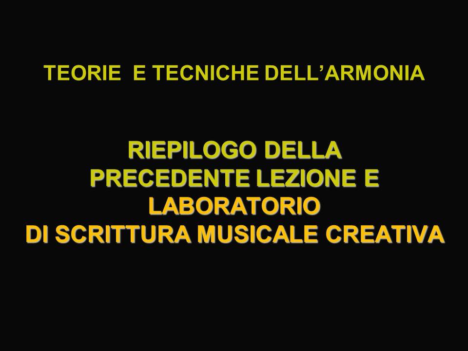 TEORIE E TECNICHE DELLARMONIA RIEPILOGO DELLA PRECEDENTE LEZIONE E LABORATORIO DI SCRITTURA MUSICALE CREATIVA