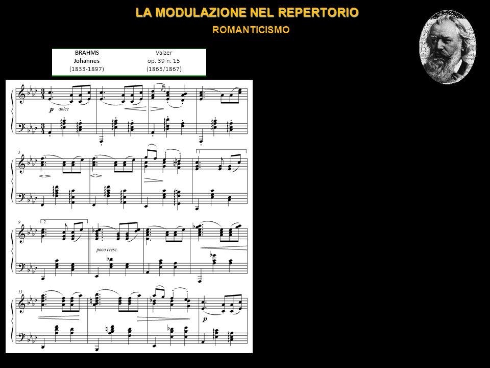 LA MODULAZIONE NEL REPERTORIO ROMANTICISMO BRAHMS Johannes (1833-1897) Valzer op.