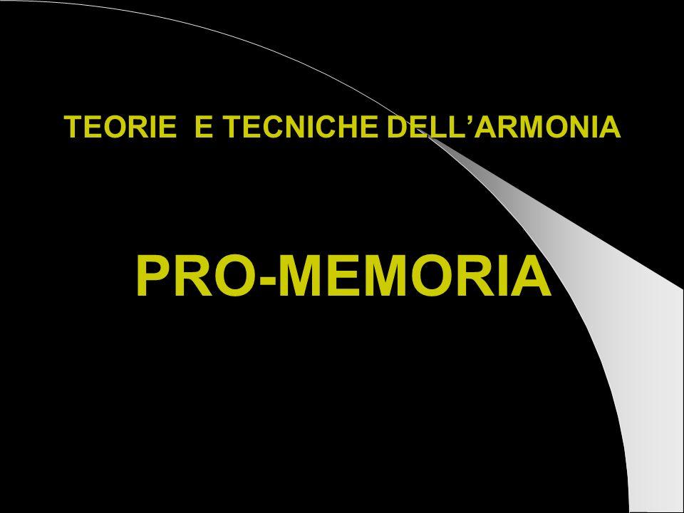 TEORIE E TECNICHE DELLARMONIA PRO-MEMORIA